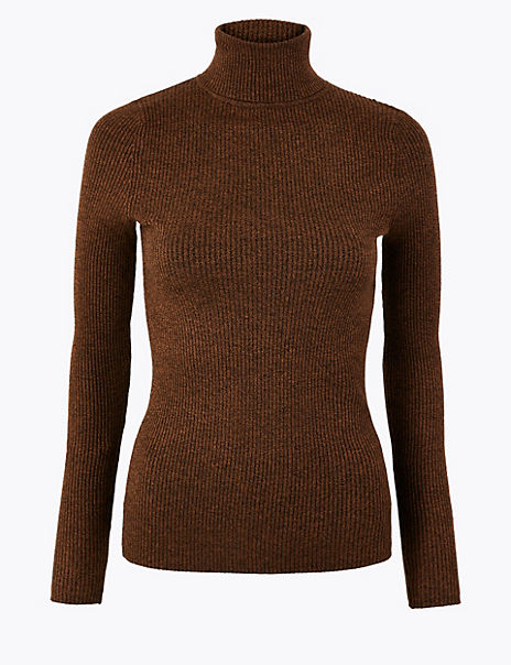 Ribbed Roll Neck Fitted Jumper