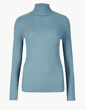 Ribbed Polo Neck Jumper, BLUE/GREEN, catlanding