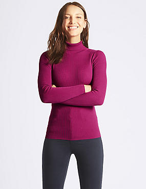 Ribbed Polo Neck Jumper, MAGENTA, catlanding