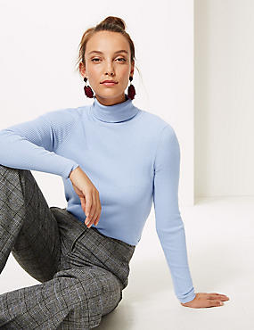 Ribbed Polo Neck Jumper, LIGHT BLUE, catlanding