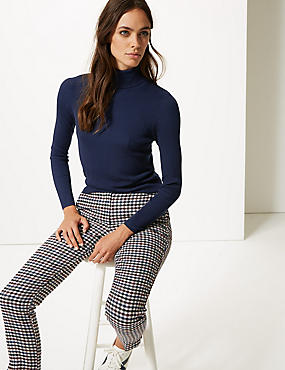 Ribbed Polo Neck Jumper, MEDIUM NAVY, catlanding