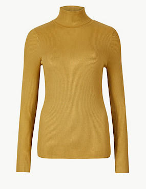 Ribbed Polo Neck Jumper, HONEY, catlanding