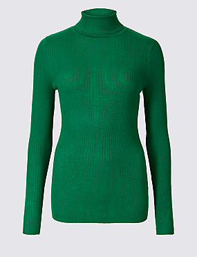 Ribbed Polo Neck Jumper, BRIGHT GREEN, catlanding