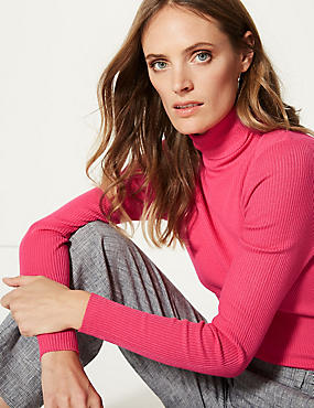Ribbed Polo Neck Jumper, VERY PINK, catlanding