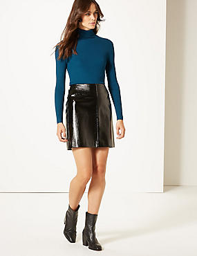 Ribbed Polo Neck Jumper, DARK MARINE, catlanding