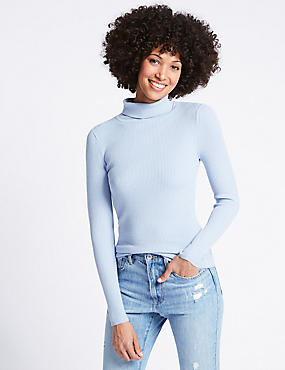 Ribbed Polo Neck Jumper, PALE BLUE, catlanding