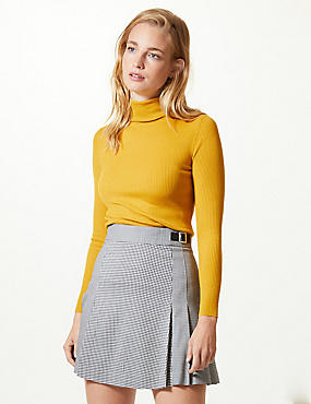 Ribbed Polo Neck Jumper, OCHRE, catlanding