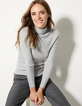 Ribbed Polo Neck Jumper, GREY MARL, catlanding