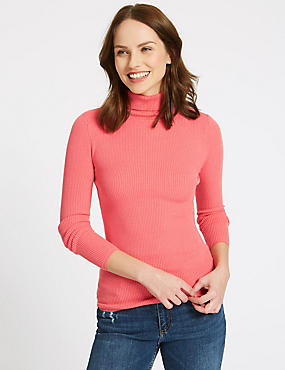 Ribbed Polo Neck Jumper, WATERMELON, catlanding