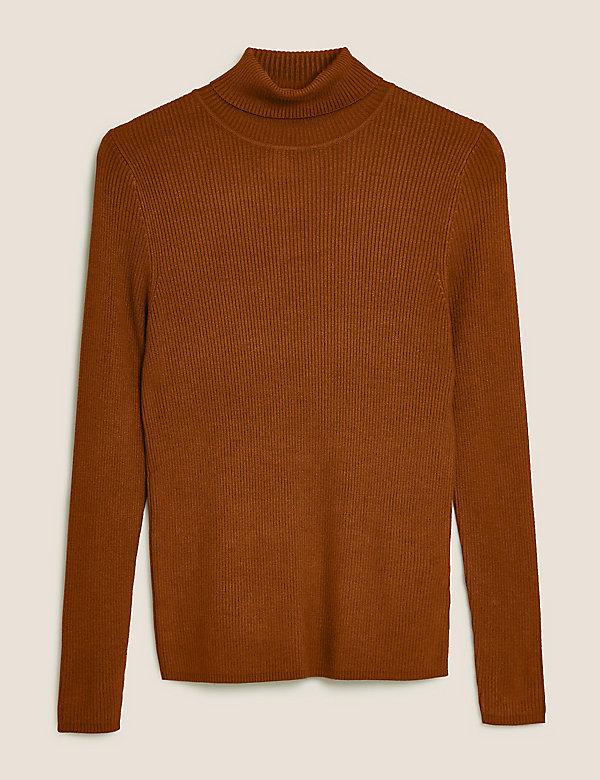 Žebrovaný svetr srolákovým límcem