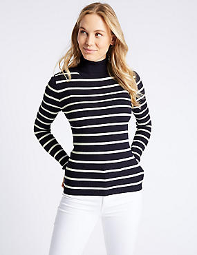 Striped Roll Neck Long Sleeve Jumper, NAVY MIX, catlanding