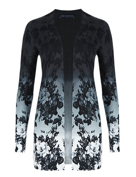 Open Front Ombre Floral Cardigan with Silk