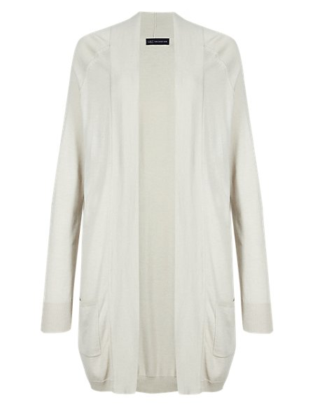 Open Front 2 Pockets Cardigan with Silk