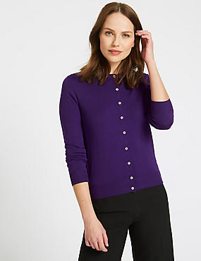 Ribbed Round Neck Cardigan, PURPLE, catlanding