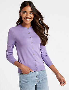 Long Sleeve Round Neck Cardigan, MEDIUM LILAC, catlanding