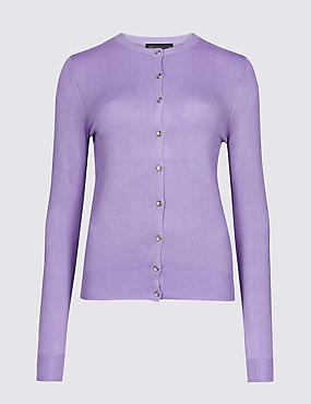 Ribbed Round Neck Cardigan, MEDIUM LILAC, catlanding