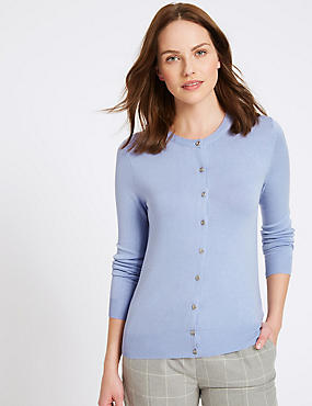 Ribbed Round Neck Cardigan, BLUEBELL, catlanding