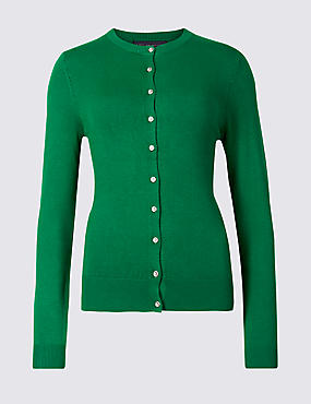 Ribbed Round Neck Cardigan, EMERALD, catlanding