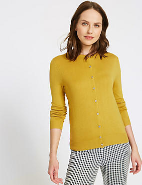 Ribbed Round Neck Cardigan, WINTER LIME, catlanding