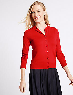 Long Sleeve Round Neck Cardigan, LACQUER RED, catlanding