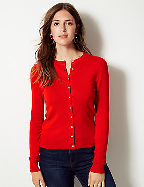 Long Sleeve Round Neck Cardigan, CHILLI, catlanding