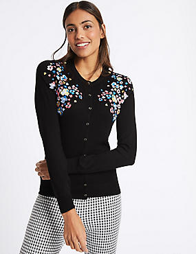 Floral Embroidered Round Neck Cardigan, BLACK MIX, catlanding