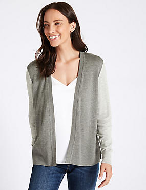 Colour Block Open Front Cardigan  , GREY MIX, catlanding