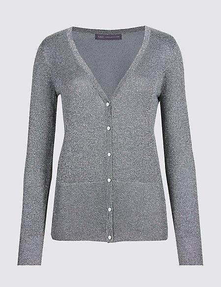 Glitter V-Neck Long Sleeve Cardigan