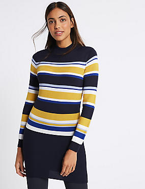 Striped Turtle Neck Longline Jumper, BLACK MIX, catlanding