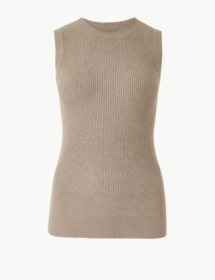 0a25a2020737e7 Ribbed Round Neck Knitted Top £12.50