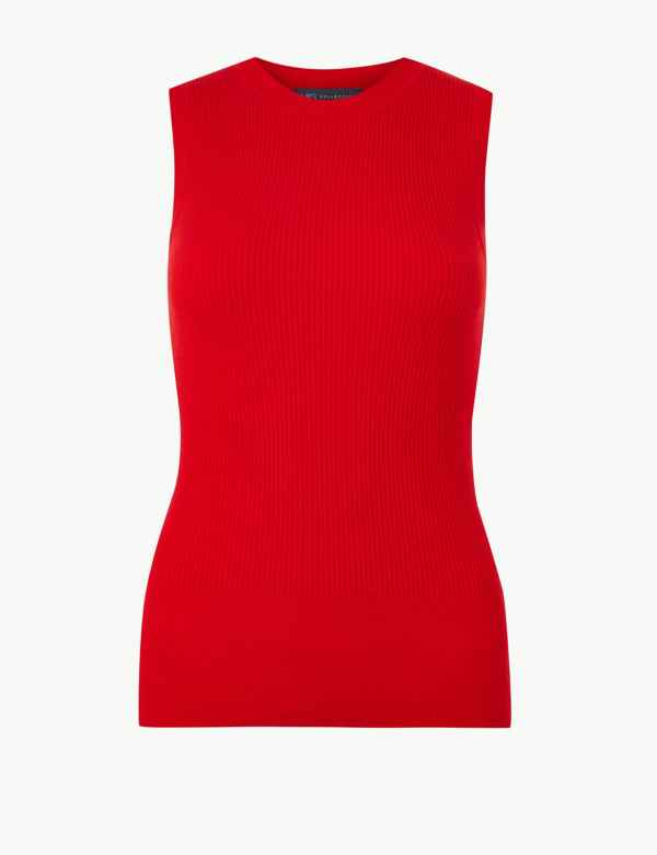 89f8356e60 Ribbed Round Neck Knitted Top