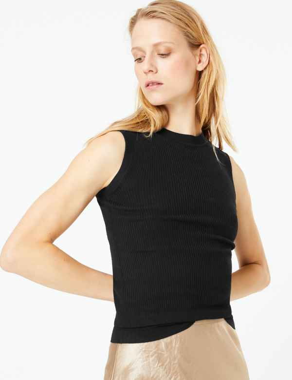 2b0210ce32c909 Ribbed Round Neck Knitted Top