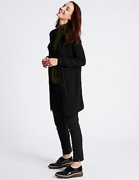 Open Front Cardigan, BLACK, catlanding