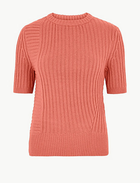 Cotton Rich Ribbed Knitted Top
