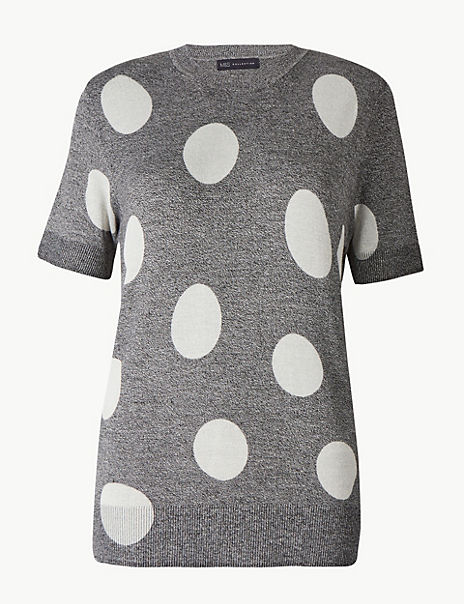 Polka Dot Round Neck Knitted Top
