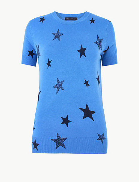 Star Print Short Sleeve Knitted Top