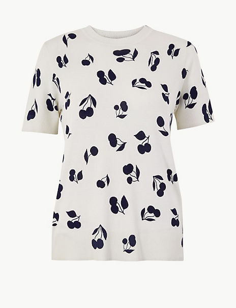 Printed Short Sleeve Knitted Top