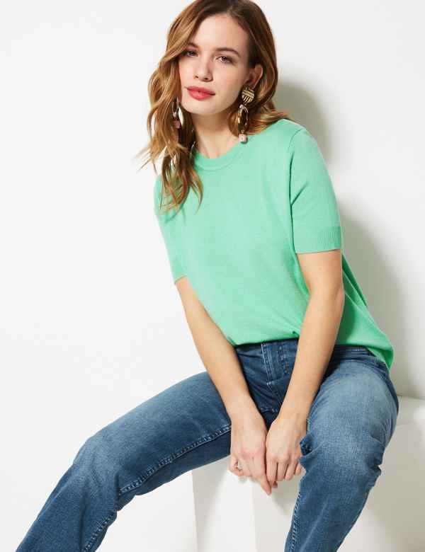 4193c8e0ccb PETITE Round Neck Short Sleeve Knitted Top