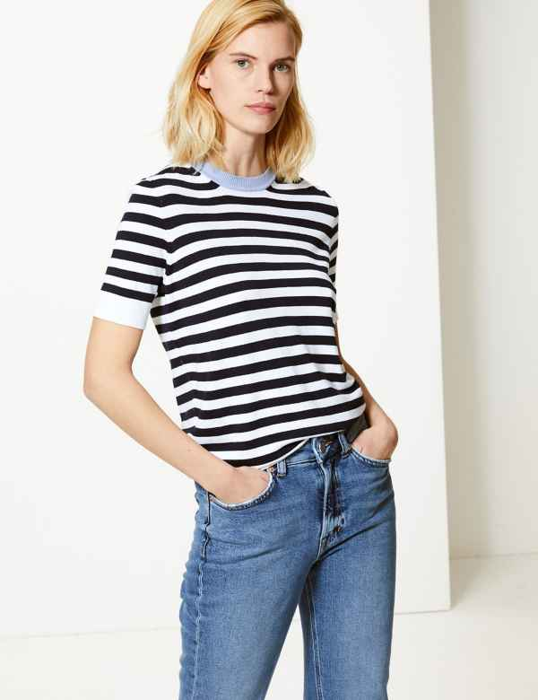 4c1ac2a5899 Striped Round Neck Short Sleeve Knitted Top