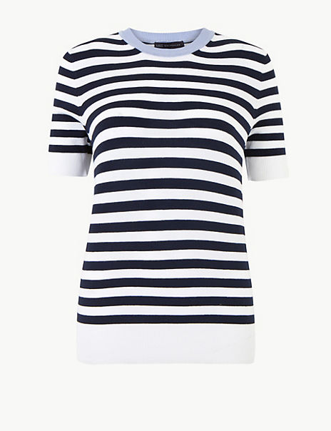 Striped Round Neck Short Sleeve Knitted Top