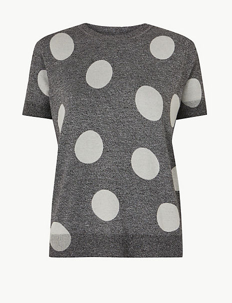 PETITE Polka Dot Round Neck Knitted Top