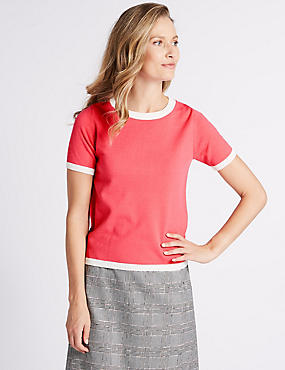 Round Neck Short Sleeve Jumper, PINK MIX, catlanding