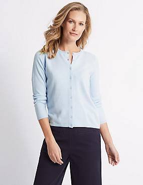 Cashmilon™ Round Neck Cardigan, ICE BLUE, catlanding