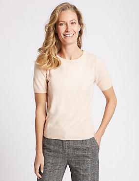 Cashmilon™ Round Neck Short Sleeve Jumper, SOFT PEACH, catlanding