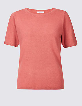 Cashmilon™ Round Neck Short Sleeve Jumper, CINNAMON BLUSH, catlanding