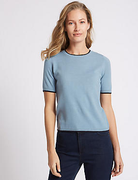 Tipped Round Neck Jumper, SOFT BLUE, catlanding