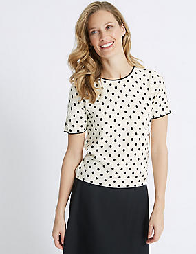 Spotted Round Neck Short Sleeve Jumper