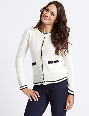 Lambswool Blend Contrasting Edge Cardigan, IVORY MIX, catlanding