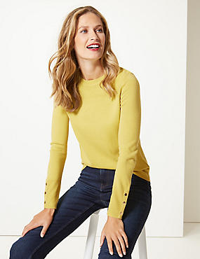 Ripple Textured Yoke Round Neck Jumper, LIME, catlanding