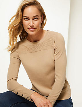 Ripple Textured Yoke Round Neck Jumper, CARAMEL, catlanding